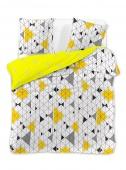 DecoKing – Pościel Bawełniana Biało Żółta Ducato GEOMETRIC MOTYWY GEOMETRYCZNE