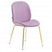 Krzesło Welurowe Tapicerowane Glamour Złote nóżki Pudrowy Róż FLORIN