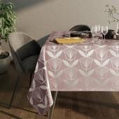 Obrus na stół z błyszczącym wzorem Motyw kwiatowy Pudrowy Róż PLANTS