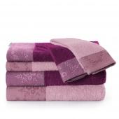 AmeliaHome - Zestaw 6 x Ręcznik Kąpielowy Bawełniany z ozdobną bordiurą Pudrowy Róż + Fioletowy CREA
