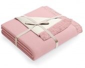 Dwustronny koc z frędzlami Miękka narzuta 150x200 cm Różowo-kremowy SAMI
