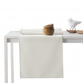 DecoKing - Komplet obrus i bieżnik bawełniany Kremowy PURE