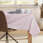 DecoKing - Obrus bawełniany z mankietem i lamówką Pudrowy Róż PURE