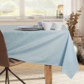 DecoKing - Obrus bawełniany Srebrno - niebieski PURE