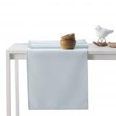 DecoKing - Komplet obrus i bieżnik bawełniany Srebno Niebieski PURE
