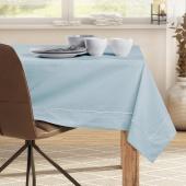 DecoKing - Obrus bawełniany z mankietem i lamówką Srebrno-Niebieski PURE