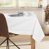 DecoKing - Obrus bawełniany z mankietem i lamówką Biały PURE