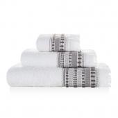 Sorema – Ręcznik Kąpielowy z Frędzlami Gładki Biało Szary HAVANA