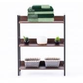 Industrialny Regał Szafka na książki z trzema półkami Loft  Espresso Brązowo Czarny IKIGAI