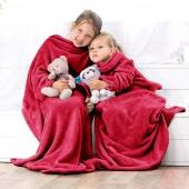 DecoKing – Koc z rękawami 90x105 cm Czerwony LAZY KIDS