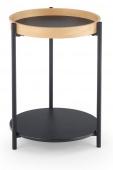 Stolik kawowy z dwoma półkami Okrągły do salonu CAHIR