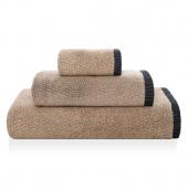 Sorema – Ręcznik Kąpielowy Bawełniany z Ozdobnym Paskiem Beżowy SAVANNAH