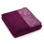 AmeliaHome - Ręcznik Kąpielowy Bawełniany z ozdobną bordiurą Fioletowy CREA