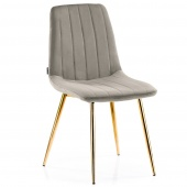Krzesło Welurowe Tapicerowane Pikowane do Jadalni Salonu Beżowe SARVA