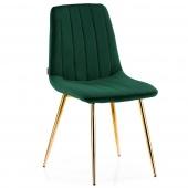 Krzesło Welurowe Tapicerowane Pikowane do Jadalni Salonu Butelkowa Zieleń SARVA