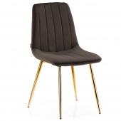 Krzesło Welurowe Tapicerowane Pikowane do Jadalni Salonu Brązowe SARVA