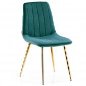 Krzesło Welurowe Tapicerowane Pikowane do Jadalni Salonu Morskie SARVA