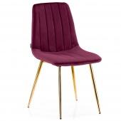 Krzesło Welurowe Tapicerowane Pikowane do Jadalni Salonu Bordowe SARVA