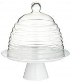 Kitchen Craft - Patera porcelanowa z kloszem 25 cm GLASS DOME