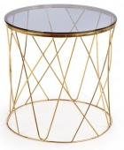 Stolik kawowy na nowoczesnym stelażu Okrągły Szklany Blat Złoty ANAT