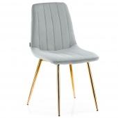 Krzesło Welurowe Tapicerowane Pikowane do Jadalni Salonu Szare SARVA