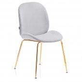 Krzesło Welurowe Tapicerowane Glamour Złote nóżki Szare FLORIN
