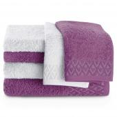 Zestaw ręczników kąpielowych Bawełnianych ze srebrnym zdobieniem Fioletowy i Popielaty MIDAL