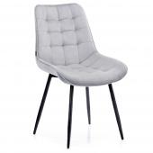 Krzesło Welurowe Tapicerowane Pikowane do Jadalni Salonu Jasnoszare ALGATE