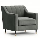 Welurowy fotel tapicerowany na ozdobnych nóżkach Szary Glamour MOVERNA