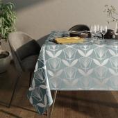 Obrus na stół z błyszczącym wzorem Motyw kwiatowy Srebrny PLANTS