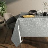 Obrus błyszczący na stół Liście Miłorzębu Oxford Srebrny JAPANDI