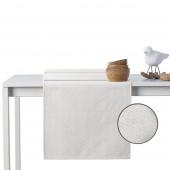 DecoKing - Komplet obrus i bieżnik bawełniany z domieszką lnu Kremowy SPARKLE