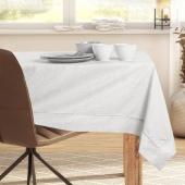 DecoKing - Obrus bawełniany z domieszką lnu z mankietem i lamówką Kremowy SPARKLE