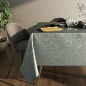 Obrus błyszczący na stół Liście Miłorzębu Oxford Grafitowy JAPANDI