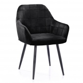 Krzesło Tapicerowane Welurowe Do Salonu Jadalni Czarne VICHY