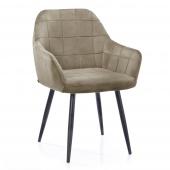 Krzesło Tapicerowane Welurowe Do Salonu Jadalni Cappuccino VICHY