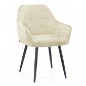 Krzesło Tapicerowane Welurowe Do Salonu Jadalni Kremowe VICHY
