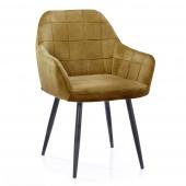 Krzesło Tapicerowane Welurowe Do Salonu Jadalni Musztardowe VICHY