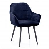 Krzesło Tapicerowane Welurowe Do Salonu Jadalni Granatowe VICHY