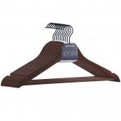 Wieszaki na ubrania do szafy Drewniane Zestaw Brązowe CLASSY