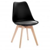 Krzesło do jadalni z poduszką Czarne TEMPA