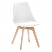 Krzesło do jadalni z poduszką Białe TEMPA