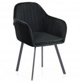 Krzesło Welurowe do Gabinetu Jadalni Czarne TRENTO
