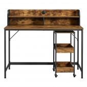 Funkcjonalne biurko z nadstawką i szafką na kółkach Czarno Brązowe CARO
