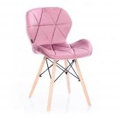Krzesło Welwetowe do Jadalni Gabinetu Pudrowy Róż SILLA