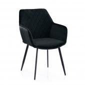 Krzesło Tapicerowane Welurowe Czarne ROMA