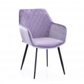 Krzesło Tapicerowane Welurowe Lawendowe ROMA