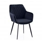 Krzesło Tapicerowane Welurowe Granatowe ROMA