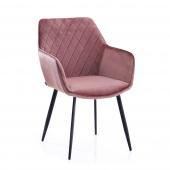 Krzesło Tapicerowane Welurowe Różowe ROMA