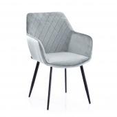 Krzesło Tapicerowane Welurowe Jasnoszare ROMA